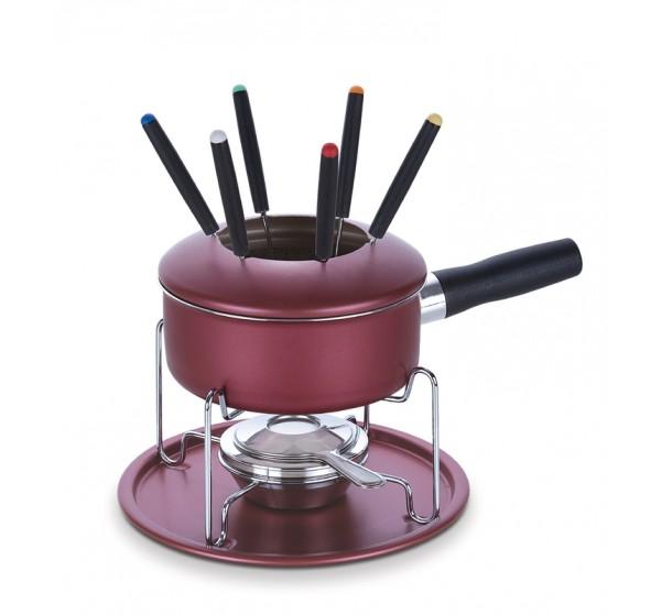 Jogo para fondue de alumínio com revestimento interno de antiaderente - Vermelho - Paris