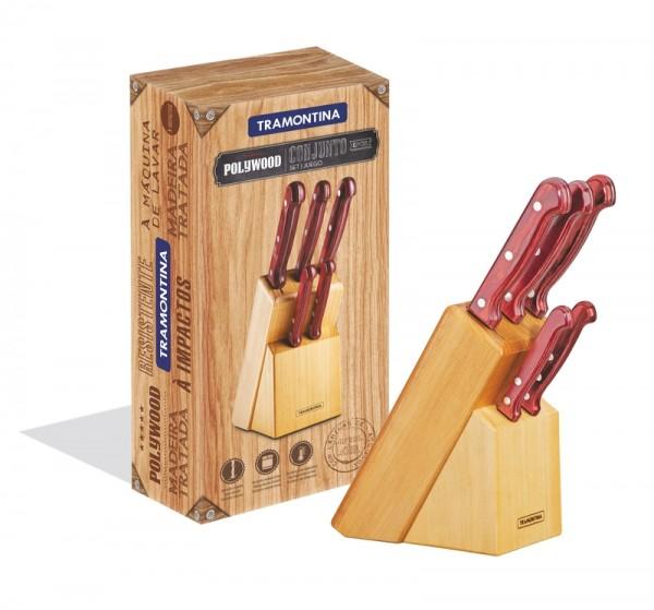 Jogo de facas 6 peças - Polywood - vermelho