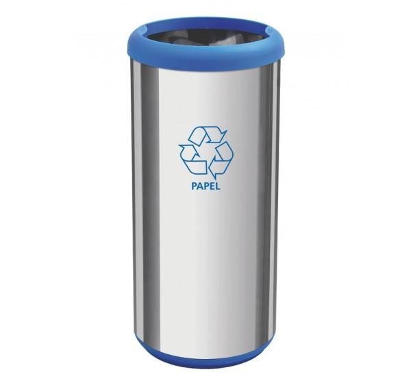 Lixeira em aço inox sem tampa 40L - Cápsula Selecta Plus - Azul