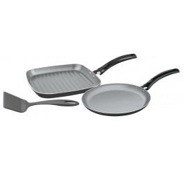 Jogo tapioqueira/bistiqueira de alumínio com revestimento interno de antiaderente 3 peças - Preto - Turim