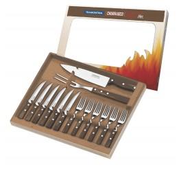 Kit para churrasco 14 peças - Polywood - castanho