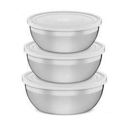 Jogo de potes aço inox com tampa plástica 1,6L/2,2L/2,9L 3 peças - Freezinox