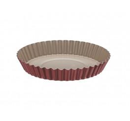Forma para torta e bolo de alumínio com revestimento interno antiaderente 24cm - Vermelho - Brasil