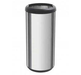 Lixeira em aço inox sem tampa 40L - Cápsula Selecta Plus - Preto