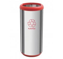 Lixeira em aço inox sem tampa 40L - Cápsula Selecta Plus - Vermelho