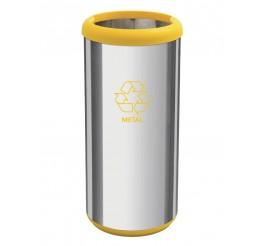 Lixeira em aço inox sem tampa 40L - Cápsula Selecta Plus - Amarelo