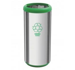 Lixeira em aço inox sem tampa 40L - Cápsula Selecta Plus - Verde