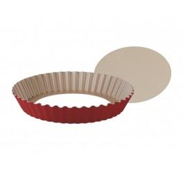 Forma com fundo removível de alumínio com revestimento interno antiaderente 24cm - Vermelho - Brasil