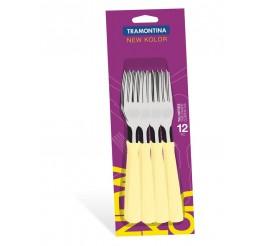 Conjunto garfos de mesa 12 peças New Color - Cor Creme (caixa com 20)