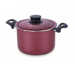 Espagueteira de alumínio com revestimento interno de antiaderente 24cm - Vermelho - Paris