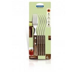 Conjunto garfos de mesa 6 peças - Polywood - Cor Marrom
