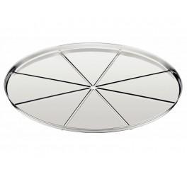 Forma para pizza com vincos aço inox 30cm - Service