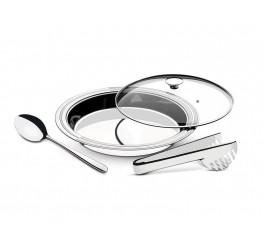 Kit para servir aço inox com tampa de vidro 3 peças - Ciclo