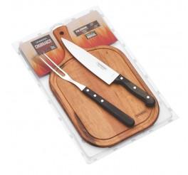Kit para churrasco 3 peças - Churrasco - Castanho