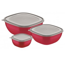 Jogo de potes 3 peças - Mixcolor - Cor Vermelho