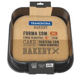 Forma com fundo removível de alumínio com revestimento interno de antiaderente 24cm - Bakery