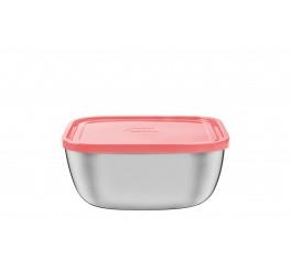 Pote quadrado aço inox com tampa plástica salmão 158 x 158mm 1,50l – Freezinox