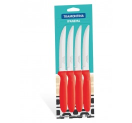 Conjunto de facas para churrasco 12 peças - Cor Vermelho