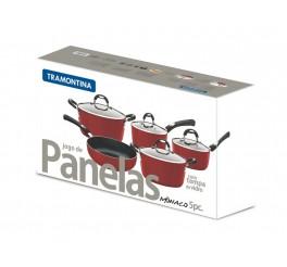 Jogo de panelas de alumínio com revestimento interno de antiaderente 5 peças - Vermelho - Mônaco