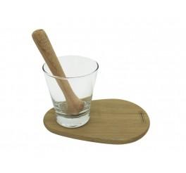 Kit Caipirinha Delicate - Tábua e Amassador de Madeira + Copo de Vidro - Delicate