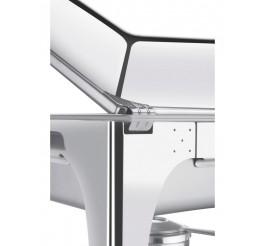 Rechaud banho-maria retangular com tampa removível aço inox 9,06L - Fogareiro - Rechauds